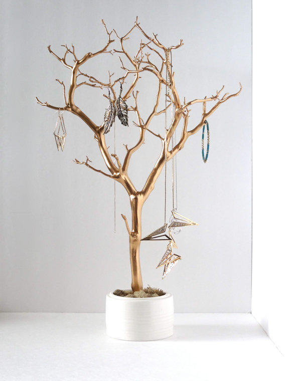 Jewelry holder organizer tree gold white from for Room decor jewelry holder