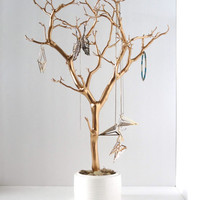 "Jewelry Holder Organizer Tree Gold white 22"" painted tabletop tree necklace hanger bedroom decor for her"