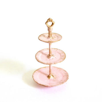Miniature Pink Fairy Garden Accessory - Dollhouse Cake Stand - 3 Tier Tray