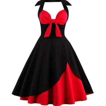 Streetstyle  Casual Bowknot Color Block Halter Plus Size Flared Dress
