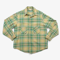 Vintage 70s PLAID SHIRT / 1970s Men's Heavy Weight Cotton Work Shirt XL
