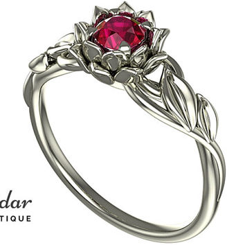 Flower Engagement Ring,Unique Engagement Ring,Gemstone Engagement Ring,Leaves,Lotus,Ruby,Solitaire Engagement Ring,floral,swirl,White Gold