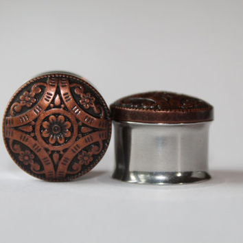Copper Flower, Hippie-Boho Plugs, gauges  7/16, 1/2, 9/16, 3/4