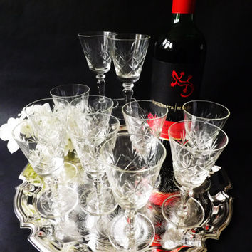 Vintage Sherry Glasses 11 Available, Port Glass, Desert Wine, Liqueur Glasses, Party Stemware, Home Bar, Barware