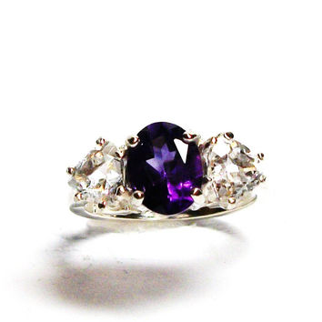 "Amethyst, amethyst accent ring, purple white ring, 3 stone ring,  wedding anniversary ring s 6 3/4  ""Quiet time"""