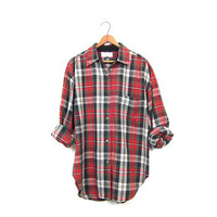 Red Green Black Plaid 90s Grunge Shirt Button Up Long Sleeve Oxford Shirt 1990s Cotton Preppy Work Shirt Vintage Womens Medium Large