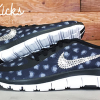 Women's Nike Free Run 5.0 V4 PT Running Shoes Blinged Out With Swarovski Elements Crystal Rhinestones - Black/Gray/White Leopard Print
