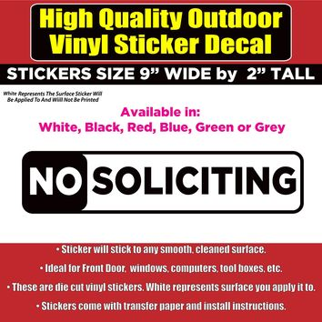 NO SOLICITING Sign Vinyl Business Home Window Door Gate Office Sticker Decal