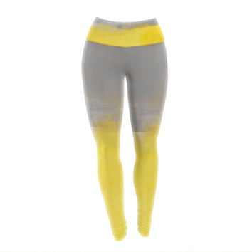 "CarolLynn Tice ""A Simple Abstract"" Yellow Gray Yoga Leggings"