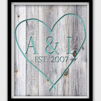 8 x 10 Wall Decor Print, Modern Home Decor-Tree Carved Couples Initials
