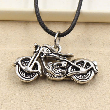 New Fashion Tibetan Silver Pendant motorcycle Necklace Choker Charm Black Leather Cord Factory Price Handmade Jewlery