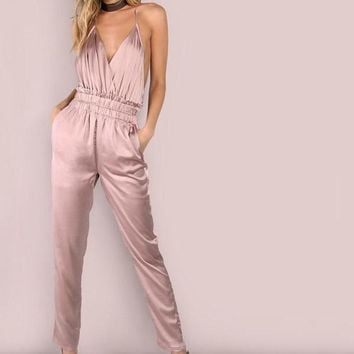 Pink Satin Slip Jumpsuit Sexy Cross Low Back Women Jumpsuits New Ruffle Strap Casual Elegant Jumpsuit