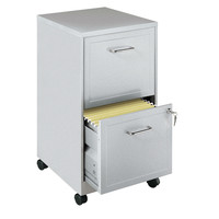 2-Drawer Vertical Mobile File Cabinet in Silver Finish