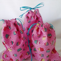 3 Pink Cupcakes Fabric Gift Bags Upcycled Reusable