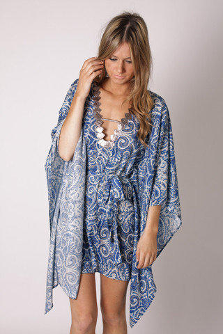 blessed are the meek silk kaftan- blue pattern at Esther Boutique