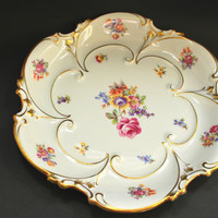 JL Menau Porcelain Charger Plate Floral and Gold , Collectible Serving Plate Von Kenneberg Germany