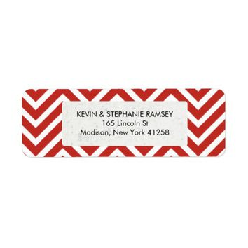 Red and White Chevron Return Address Label