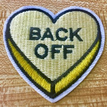 Yellow Back Off Heart Iron-On Embroidered Patch 5cm