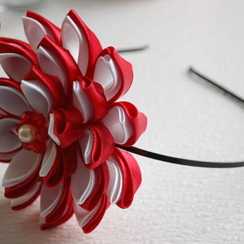 Metal headband with red flower , Kanzashi flowers ,flower girl Headband , Kanzashi Headband , Ribbon flower