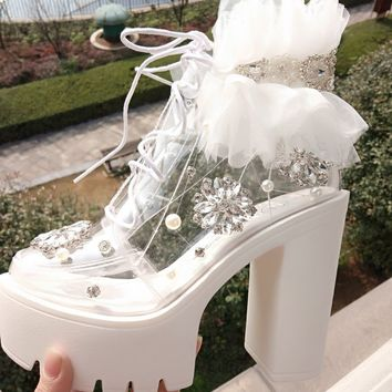 Women Summer Vintage Transparent Rhinestone Lace Flower Platform Boot