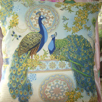 Peacocks Teal Blue  vintage victorian shabby chic style pillow
