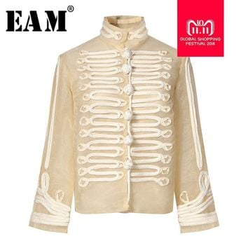 Trendy [EAM] 2018 New Autumn Winter Stad Collar Long Sleeve Organza Stitching Three-dimensional Loose Jacket Women Coat Fashion JH398 AT_94_13