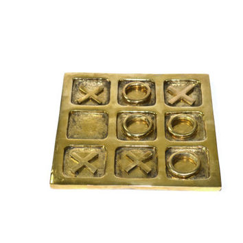 Vintage Brass Tic Tac Toe Game Brass Tic Tac Toe Game Vintage Board Game Brass Coffee Table Game Table Top Decor