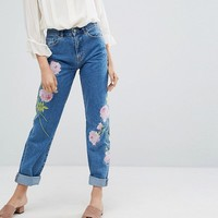 Warehouse Embroidered Jeans at asos.com