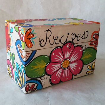 Recipe box, hand painted recipe box, grandmother gift, gift for mom, keepsake box, kitchen decor, recipe holder, memory box, Christmas gift