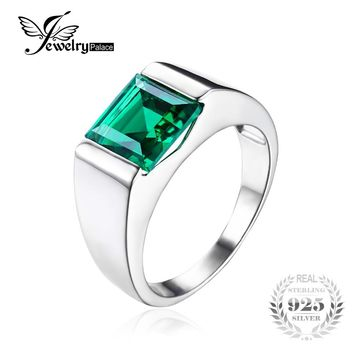 Russian Green Created Emerald Ring For Men Solid 925 Sterling Sliver