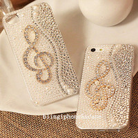 iphone 5s case, music note iphone 5 case, jewel iphone case unique iphone case iphone 5c case crystal iphone5 case samsung galaxy s3 case