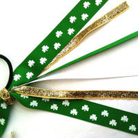 Girls St. Patrick's Day Emerald & Gold Shamrock Ponytail Streamers