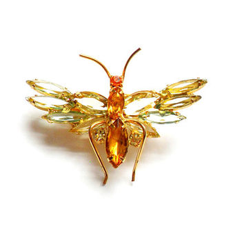 Vintage Rhinestone Winged Insect Brooch - Green Orange Yellow - Peridot Amber Citrine - Butterfly - Dragonfly - Fly Ant - Wasp Hornet Bee
