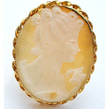 12K Gold Filled Carved Shell Cameo Pendant Brooch