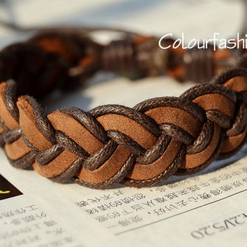 Christmas Gift, Unique handmade, Winter Gift, Fashion Brown Leather Bracelet Weaved Cotton ropes, Wrap Bracelet W-77