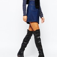 Free People Auburn Black Leather Strap Over The Knee Boots