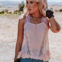 Dusk To Dawn Lace + Ruffle Cami - Pink