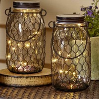 Rustic Country Fairy Light Jar Set Chicken Wire Covering 10 LED Mini Lights