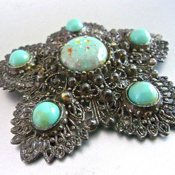 CZECH Turquoise Art Glass Filigree Brooch, Large, Pewter or Pot Metal, Vintage