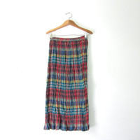 20% OFF SALE / 90s Plaid Skirt. Madras Skirt. Crinkled Skirt. Revival Maxi Skirt. Long Plaid Cotton Skirt.