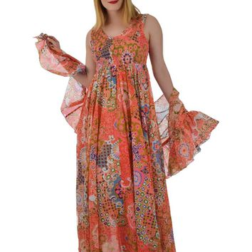 70s Mod Floral Empire Maxi Dress and Ruffled Wrap-M