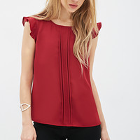 FOREVER 21 Pleated Woven Blouse Red