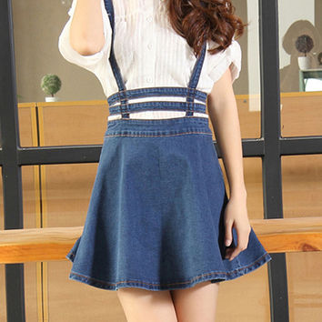 Blue Lattice Cut Out High Waisted Shoulder-straps Overall Skirt - Choies.com
