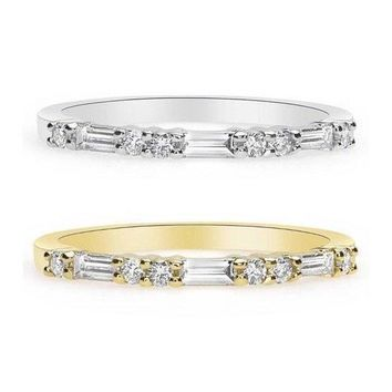 Luxinelle Baguette and Round Diamonds Band - Rose, Yellow and White Gold 18K Wedding Band by Luxinelle® Jewelry