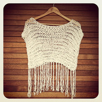 St Tropez Fringe Crop Top - White