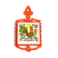 Retro Rooster Trivet by Cherry, Japan, 1960's - Funky Electric Neon Orange & Olive Green Colors, Plastic Body - Vintage Kitsch Kitchen Decor
