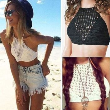 2015 New Women Sexy Crochet Bra Halter Cami Vest Strap Crop Tops Beachwear Tank Tops = 5658713537
