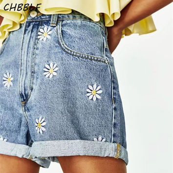 Spring Summer New Daisy Embroidery Bermuda Shorts Women Fashion High Waist Shorts Denim Short Jeans Feminina Wdl0871
