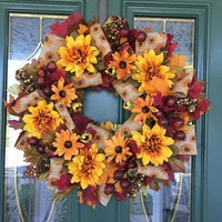 Fall Wreaths - Autumn Wreaths - Front Door Wreaths for Fall - Thanksgiving Wreath - Burlap Wreath - Front Door Wreaths for Fall