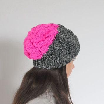 Neon Pink Cable Knit Beanie Hat, Chunky Knit Hat, Slouchy Beanie Hat, Hot Pink Beanie